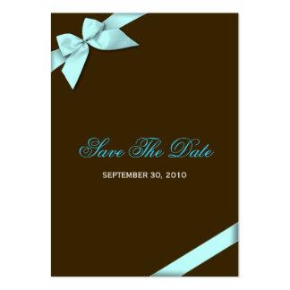 Aqua Ribbon Wedding Save The Date MiniCard Business Cards