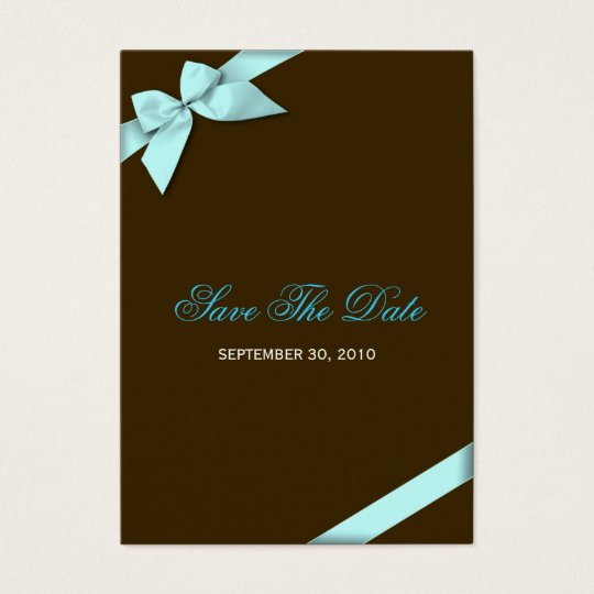 Aqua Ribbon Wedding Save The Date MiniCard Business
