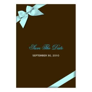 Aqua Ribbon Wedding Save The Date MiniCard Pack Of Chubby Business Cards