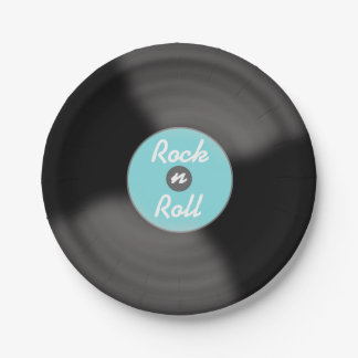 Aqua Rock N Roll Record Party Paper Plates