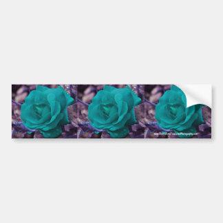 Aqua Rose Flower Bumper Sticker Car Art