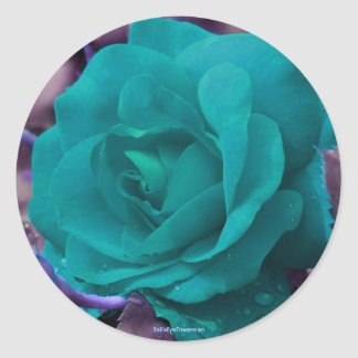 Aqua Rose Flower Photography Sticker Label