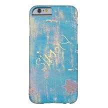 Aqua Rustic Distressed Custom Name iPhone 6 Case Slim iPhone 6 Case