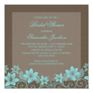 """Aqua Rustic Floral Bridal Shower Invite 5.25"""" Square Invitation Card"""