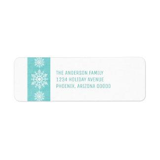 Aqua Rustic Snowflake Holiday Return Address Label