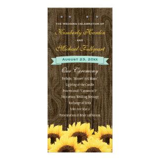 Aqua Rustic Sunflower Wedding Program Rack Cards