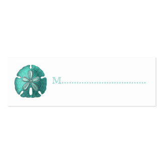 Aqua Sand Dollar Reception Table Seating Cards Pack Of Skinny Business Cards