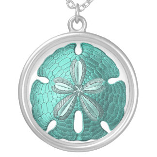 Aqua Sand Dollar Silver Plated Necklace