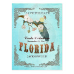 Aqua Save The Date - Florida Map With Lovely Birds Post Cards