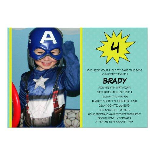 Aqua Save the Day Superhero Photo Birthday Party Custom Announcement