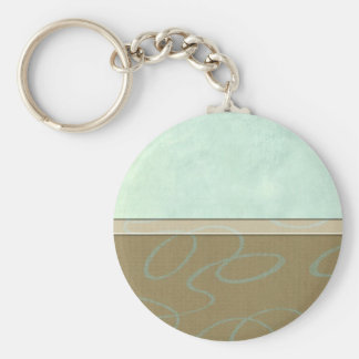 Aqua Scribble Basic Round Button Key Ring