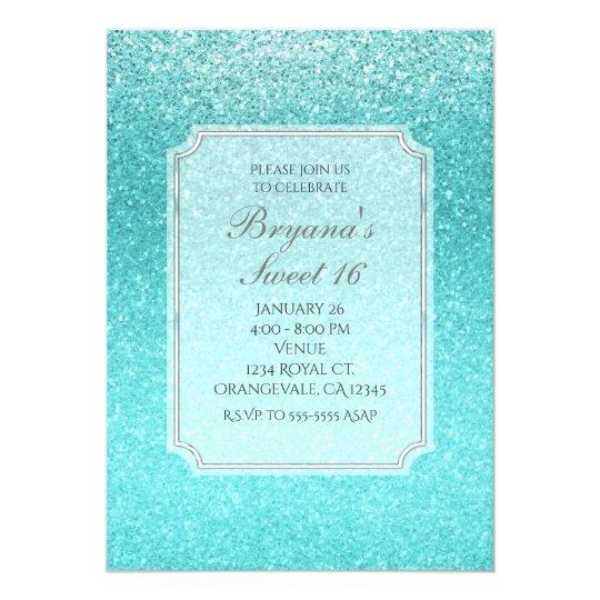 Aqua Sea Blue Glitter Sparkle Party Invitations