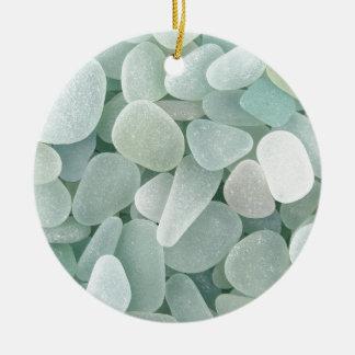 Aqua Sea Glass Round Ceramic Decoration
