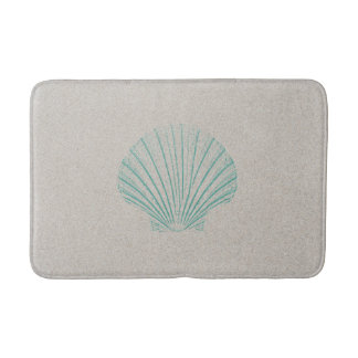 Aqua Sea Shell with Sand Texture Bath Mat