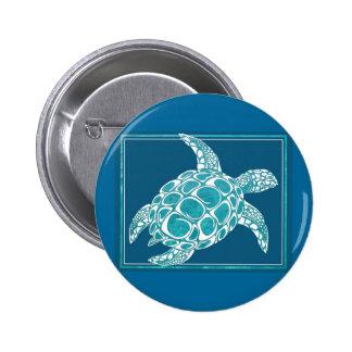 Aqua Sea Turtle 6 Cm Round Badge