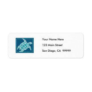 Aqua Sea Turtle Return Address Label