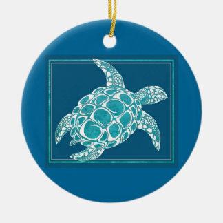Aqua Sea Turtle Round Ceramic Decoration