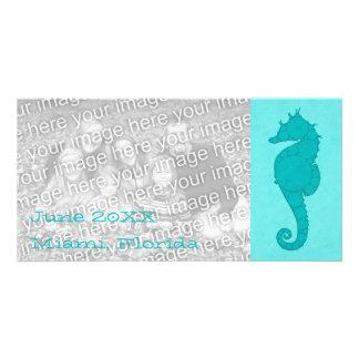 Aqua Seahorse Mosaic 2 Customized Photo Card