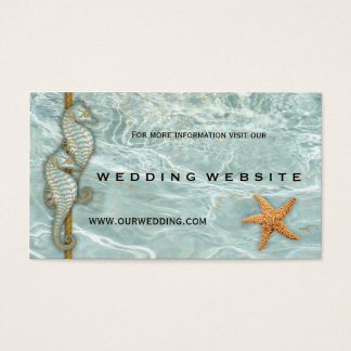 Aqua Seahorses Nautic Wedding Website Insert Card