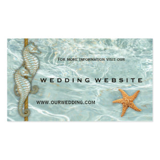 Aqua Seahorses Nautic Wedding Website Insert Card Pack Of Standard Business Cards