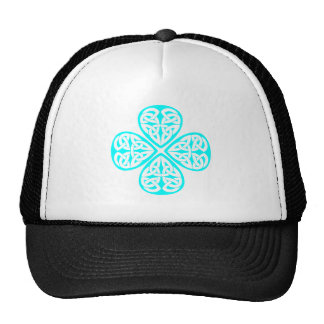 aqua shamrock celtic knot mesh hats