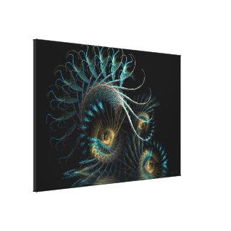 Aqua Shell Swirl Fractal Art Wrapped Canvas