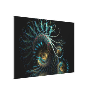 Aqua Shell Swirl Fractal Art Wrapped Canvas Gallery Wrapped Canvas