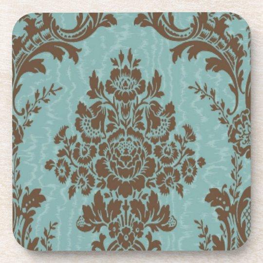 Aqua Sienna Damask Coaster