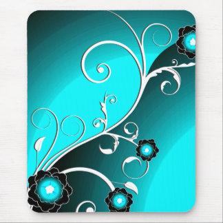 Aqua Silver Floral Vector Mousepads