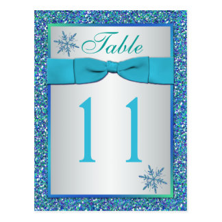 Aqua Silver Green Snowflakes Table Number Card Postcards