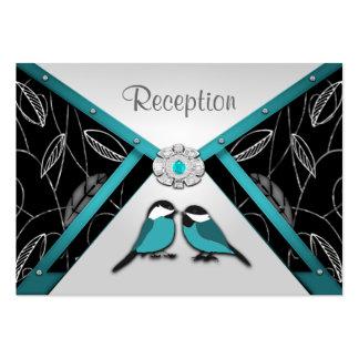 Aqua & Silver  Love Birds Wedding Reception Cards Business Card Templates