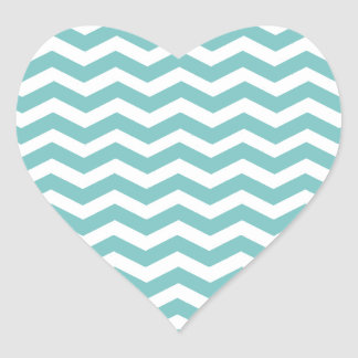 Aqua Sky And White Zigzag Chevron. Fashion Color Heart Sticker