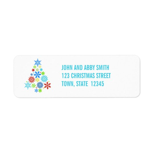 AQUA SNOWFLAKES CHRISTMAS TREE RETURN ADDRESS RETURN ADDRESS LABEL