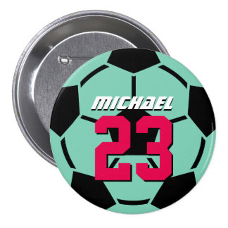 Aqua Soccer Ball Sports Team Button Pin