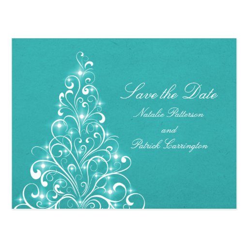 Aqua Sparkly Holiday Tree Save the Date Postcard