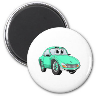 Aqua Sports Car Cartoon Magnet