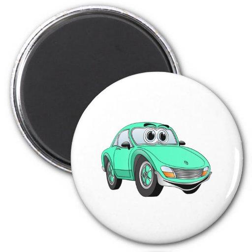 Aqua Sports Car Cartoon Fridge Magnets