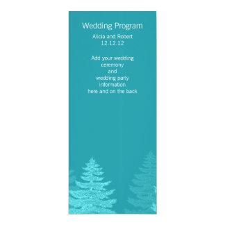 "Aqua Spruce Trees Winter Wedding Program Card 4"" X 9.25"" Invitation Card"