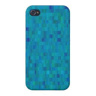 Aqua Squares modern pattern iPhone 4/4S Case