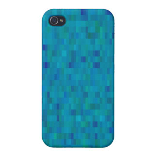 Aqua Squares modern pattern iPhone 4 Case