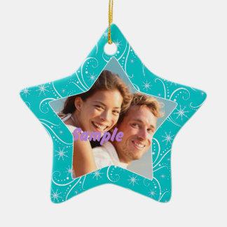 Aqua Star Swirl Christmas Photo Ornament