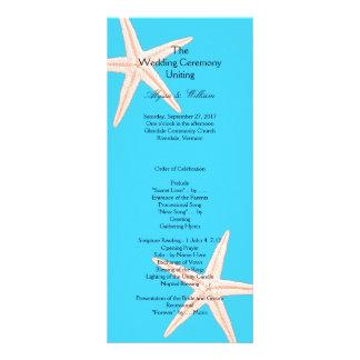 Aqua Starfish Affordable Long Wedding Program Personalized Rack Card