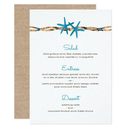 Aqua Starfish and Nautical Rope Wedding Menu Card