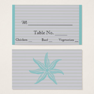 Aqua Starfish Stripe Beach Wedding Place Cards