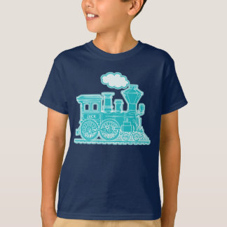 "Aqua steam loco train ""your name"" kids t-shirt"