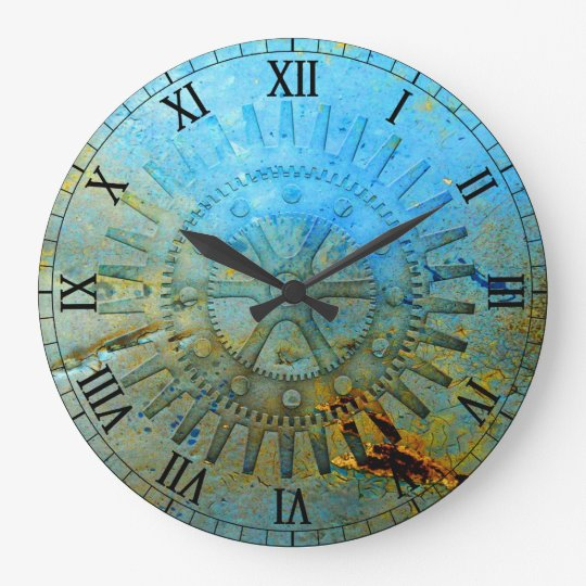 Aqua Steampunk Gears Wall Clock