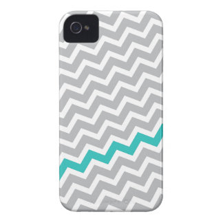 Aqua stripe gray diagonal chevron zigzag pattern iPhone 4 covers