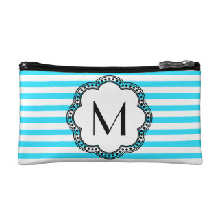 Aqua Striped Floral Vintage Style Border Monogram Cosmetic Bag