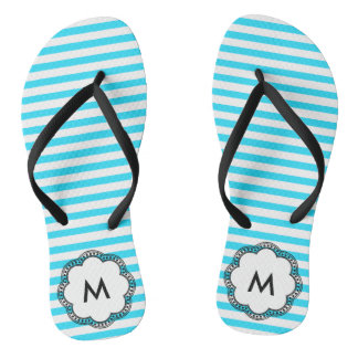 Aqua Striped Flower Monogram Initial Flip Flops
