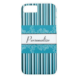 Aqua Stripes and Curls iPhone 8/7 Case
